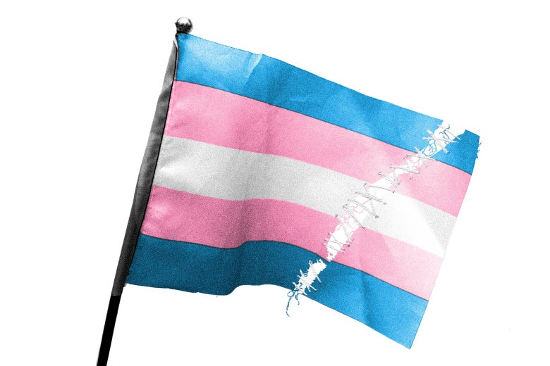 A pro-transgender flag with a tear in it