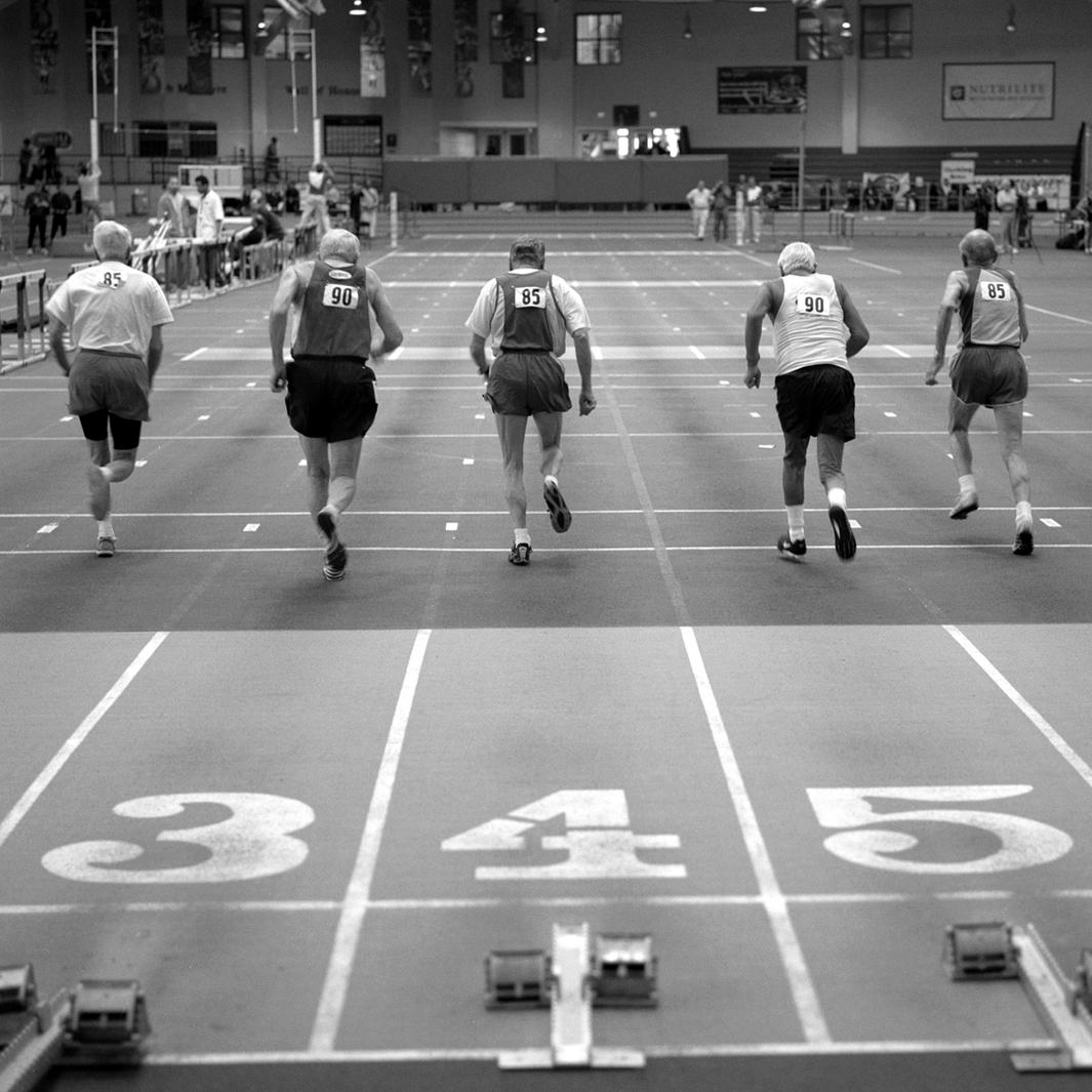 55 meter sprinters, 85 and over age bracket. 2008 USA Master's Indoor Track & Field Championship in Boston, Massachusetts. March, 2008.