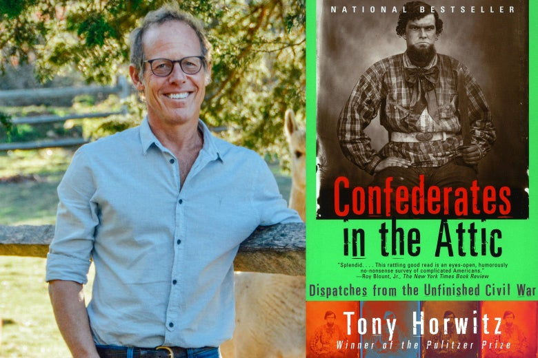 Tony Horwitz and the cover of Confederates in the Attic.