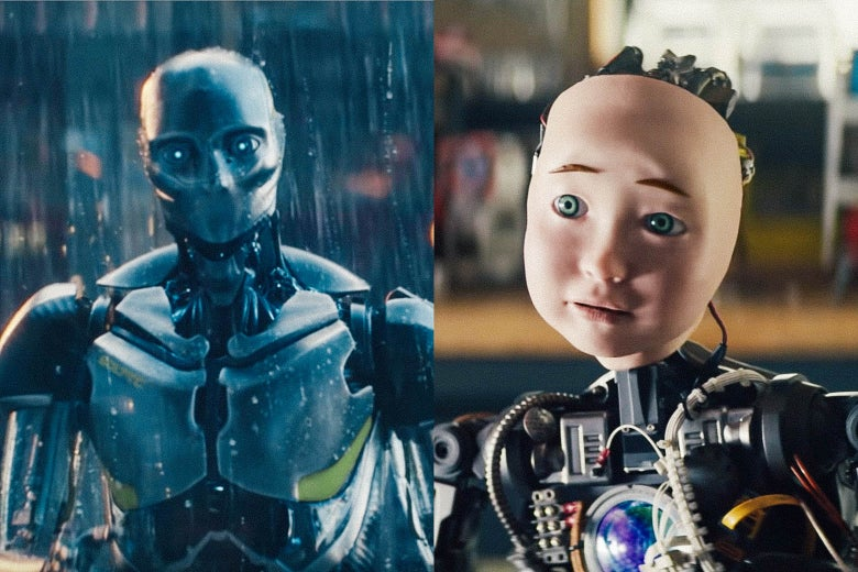 Left: Michelob's ad robot. Right: Intuit's ad robot.