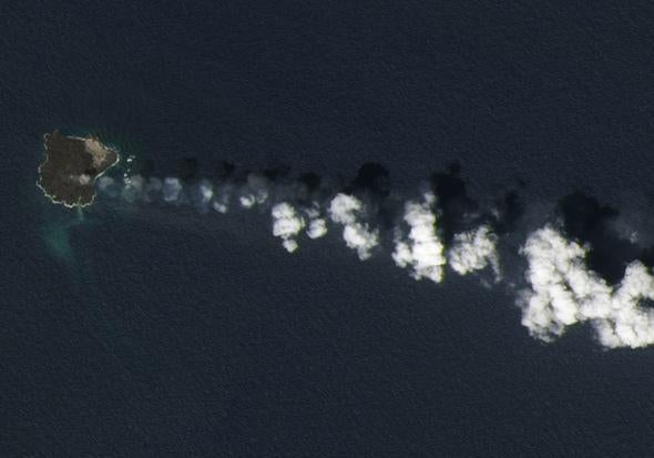 Nishinoshima volcano: New volcanic island merges with older one.