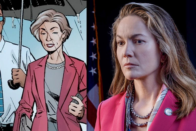Side-by-side images of Jennifer Brown in the comic and Diane Lane as Jennifer Brown in the TV show