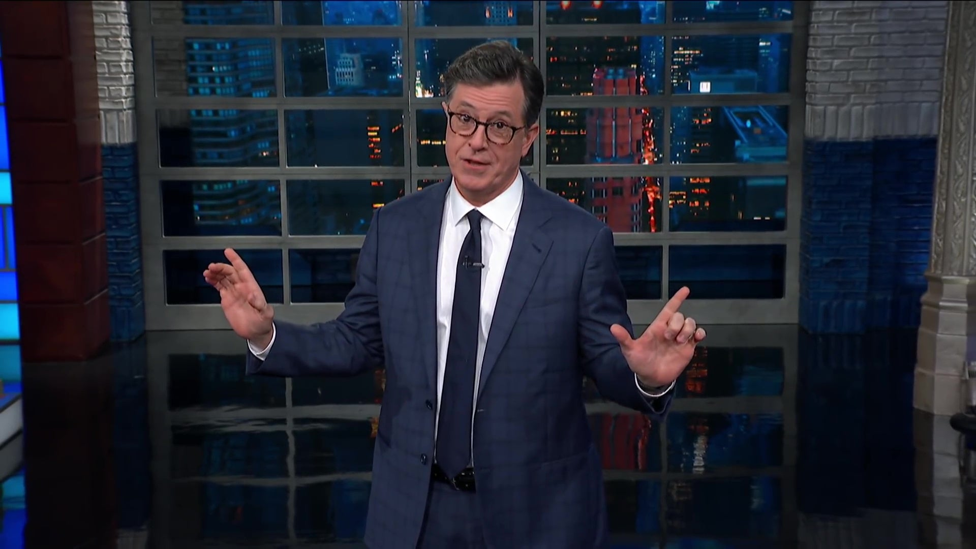 Stephen Colbert delivers a late night monologue.