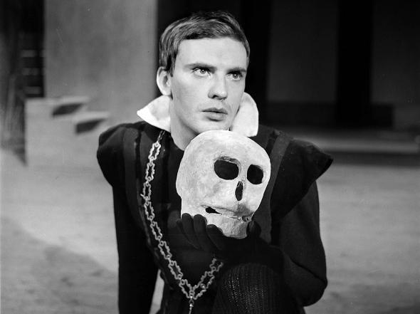 "Jean-Louis Trintigant, French actor, in ""Hamlet"" by Shakespeare,"