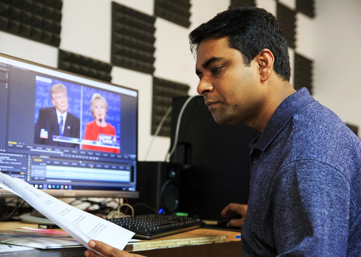 Shahed Alam, a reporter for Time Television who is covering the presidential debates for the station's Bangladeshi and South Asian community, is seen at his editing desk at the station's office on September 30th, 2016 in Long Island City, New York.
