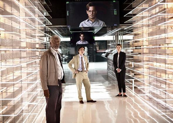 Johnny Depp, Morgan Freeman, Rebecca Hall and Cillian Murphy in Transcendence (2014).