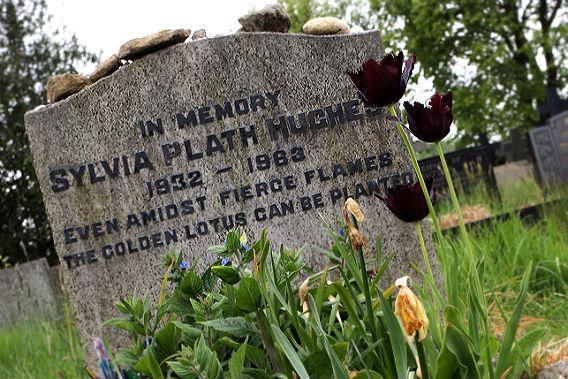 The grave of American writer and poet Sylvia Plath (1932 - 1963) at St. Thomas Beckett churchyard, Heptonstall, West Yorkshire, May 2011.