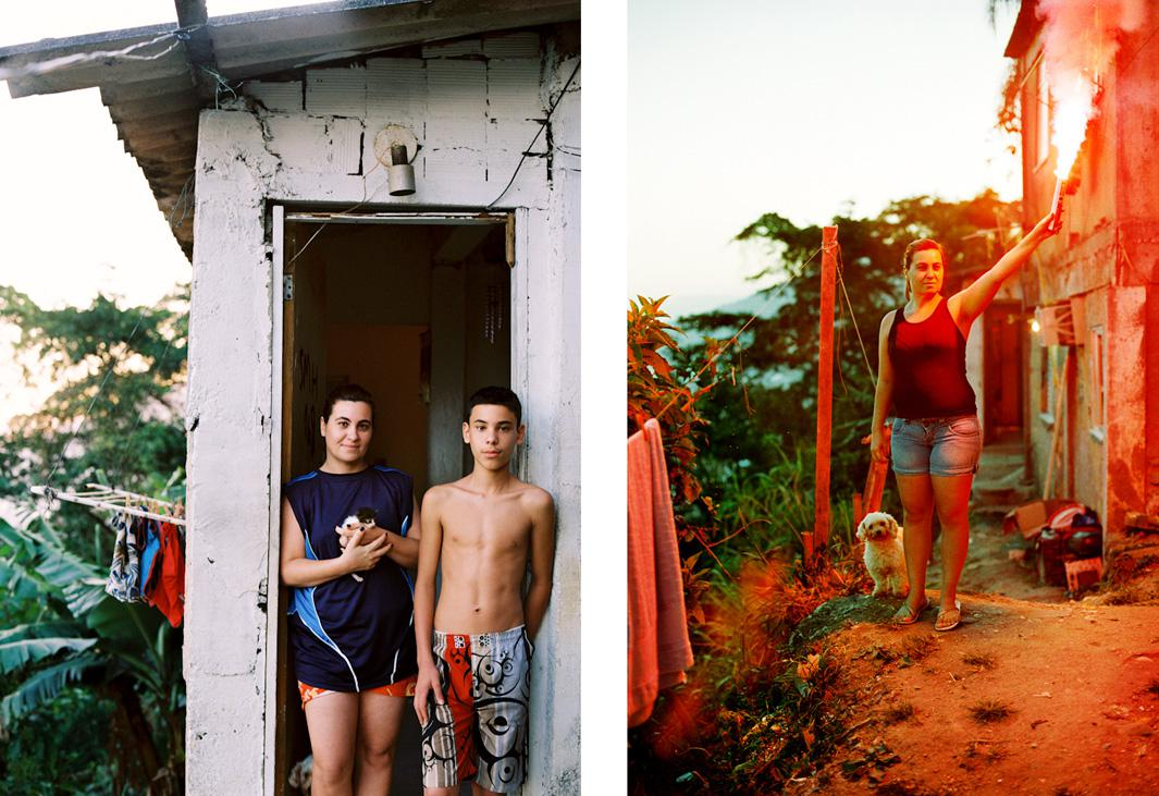 Suzana, Favela Cantagalo, 2012. Suzana lives with her two sons and partner in a house perched on the smooth boulders high above Ipanema, in Favela Cantagalo. In their quest to get Suzana to abandon the home she built, city officials had threatened her with the removal of her children, arguing that they are not growing up in a safe environment.