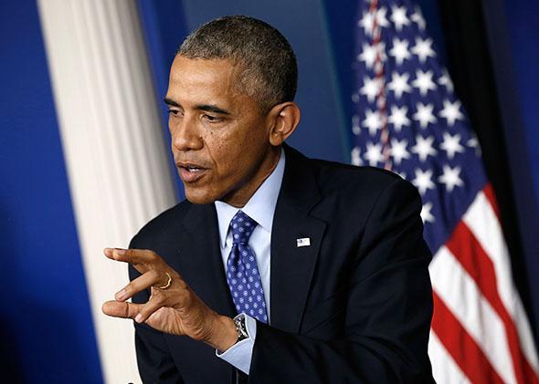 U.S. President Barack Obama speaks about Iraq.