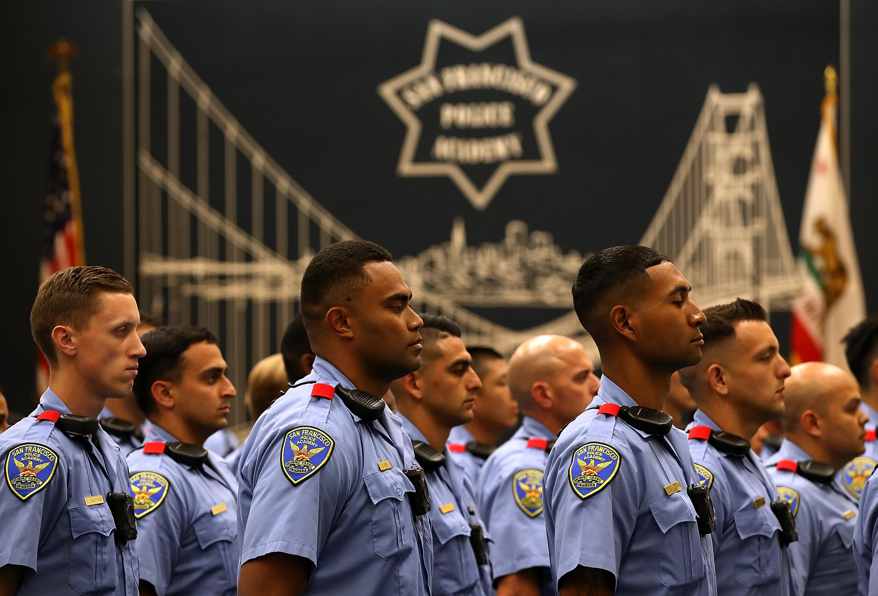 Rows of San Francisco police recruits standing at attention.