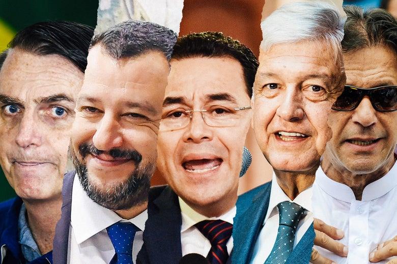 Jair Bolsonaro, Matteo Salvini, Jimmy Morales, Andrés Manuel López Obrador, and Imran Khan.