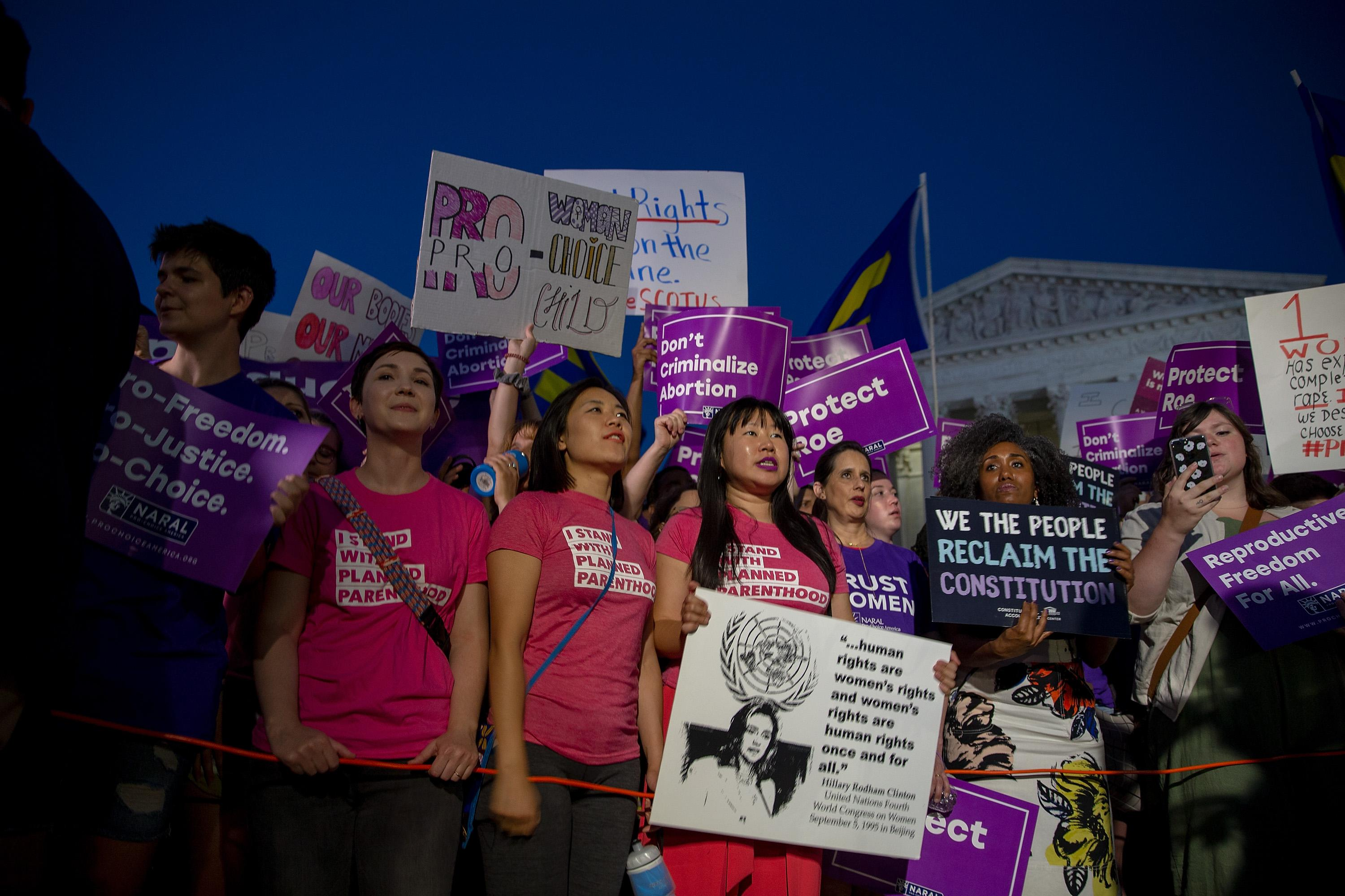 Pro-choice and anti-abortion protesters demonstrate in front of the U.S. Supreme Court on July 9, 2018.