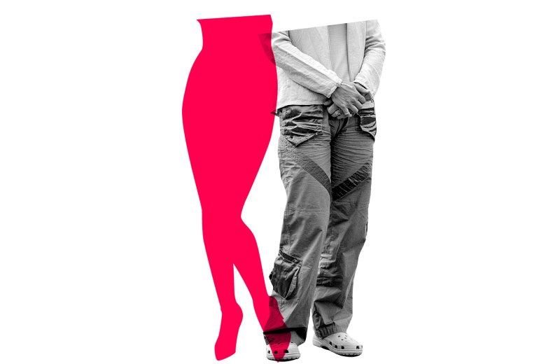 """A pink outline of a stereotypical female body next to """"male"""" clothes (chinos, buttondown)."""