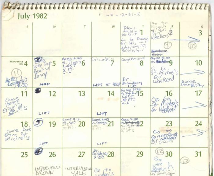 Brett Kavanaugh's calendar for July 1982.