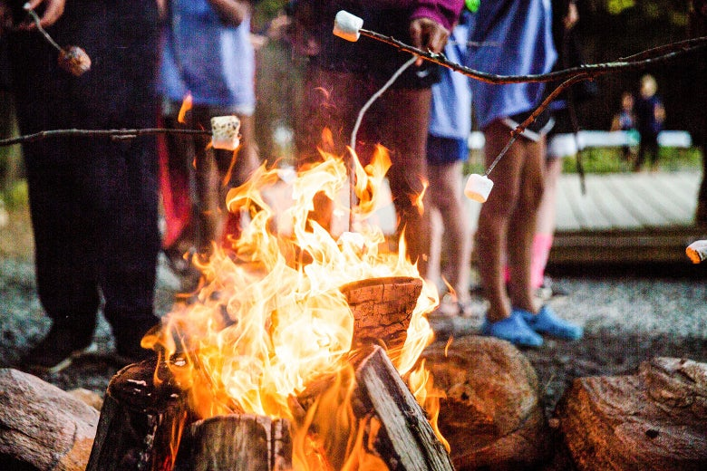 People hold marshmallows on sticks above a campfire.