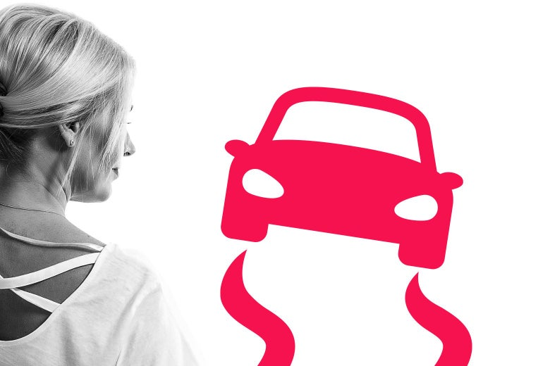 Profile of a woman looking at an illustrated car that's swerving.