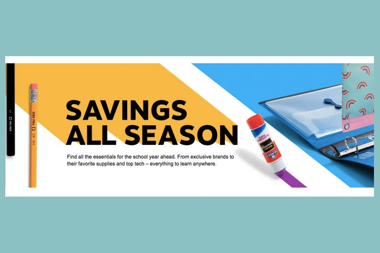 """A pencil and a glue stick seen around the text """"Savings All Season."""""""