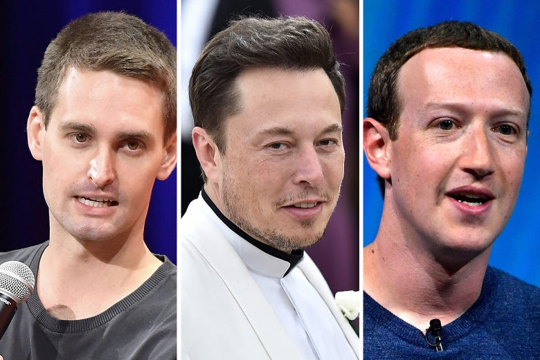 Co-founder and CEO of Snap Inc., Evan Spiegel, Tesla's co-founder and CEO Elon Musk, and Facebook's CEO Mark Zuckerberg.