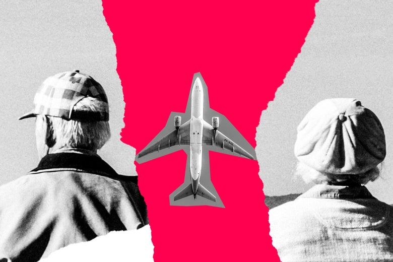 Photo illustration of two older people and an airplane.