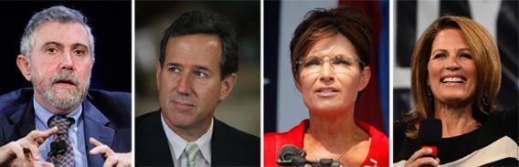Clockwise Start T-L: Paul Krugman, Rick Santorum, Sarah Palin, and Michelle Bachmann.