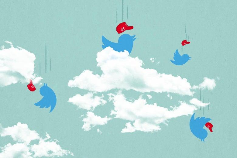 Plummeting Twitter birds wearing red 45 hats.