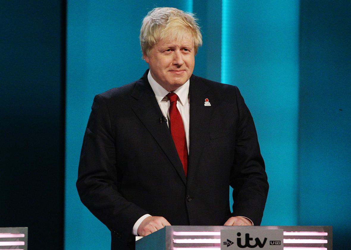 Former Major of London Boris Johnson argues for Britain to leave the EU during The ITV Referendum Debate on June 9, 2016 in London, United Kingdom.