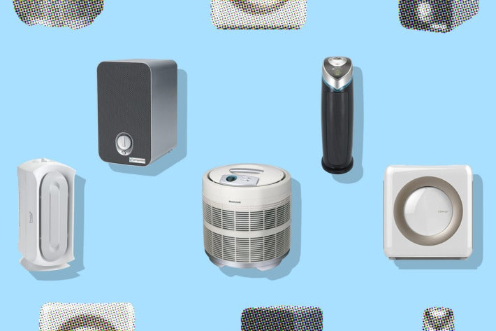 Collage of various air purifiers.