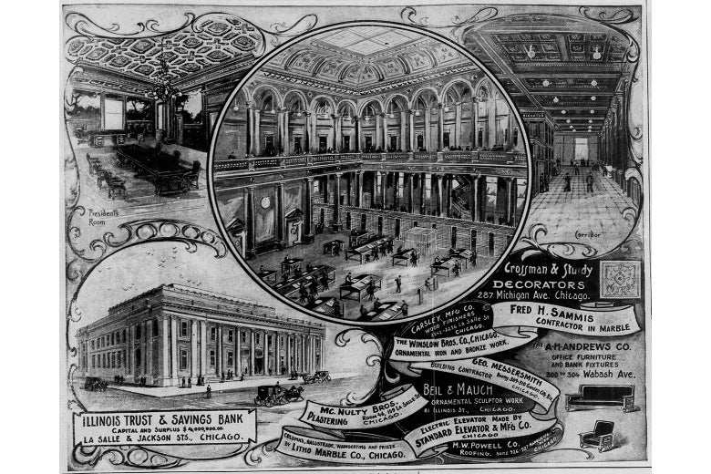 A newspaper illustration of the bank's interior, showing an enormous lobby.