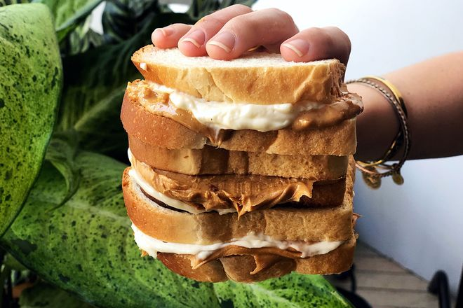 A peanut butter-and-mayo sandwich.