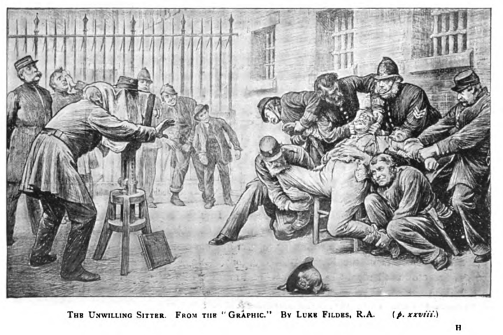 Police officers wrestle a man into place for a photograph in this historic illustration.