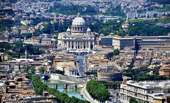 An aerial view of Rome and the Vatican City.