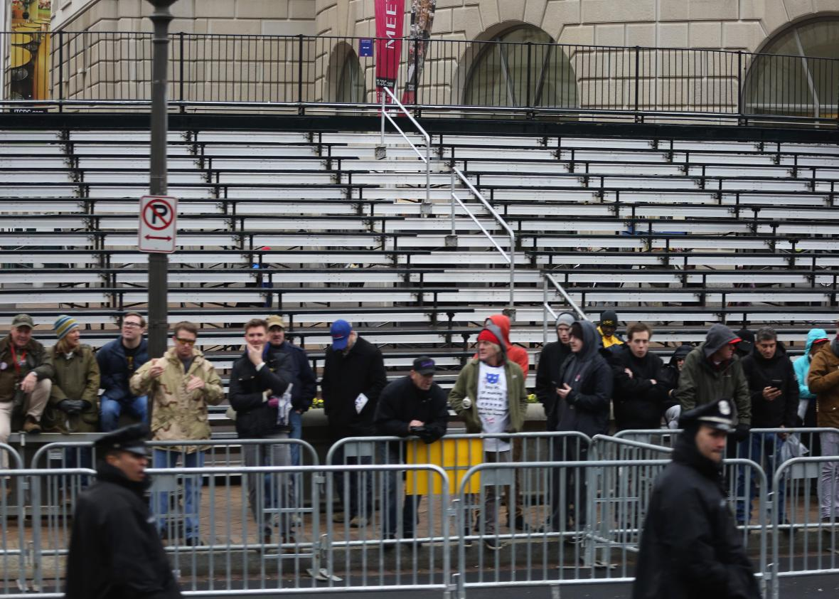 Empty bleachers on the route of the Inaugural Parade