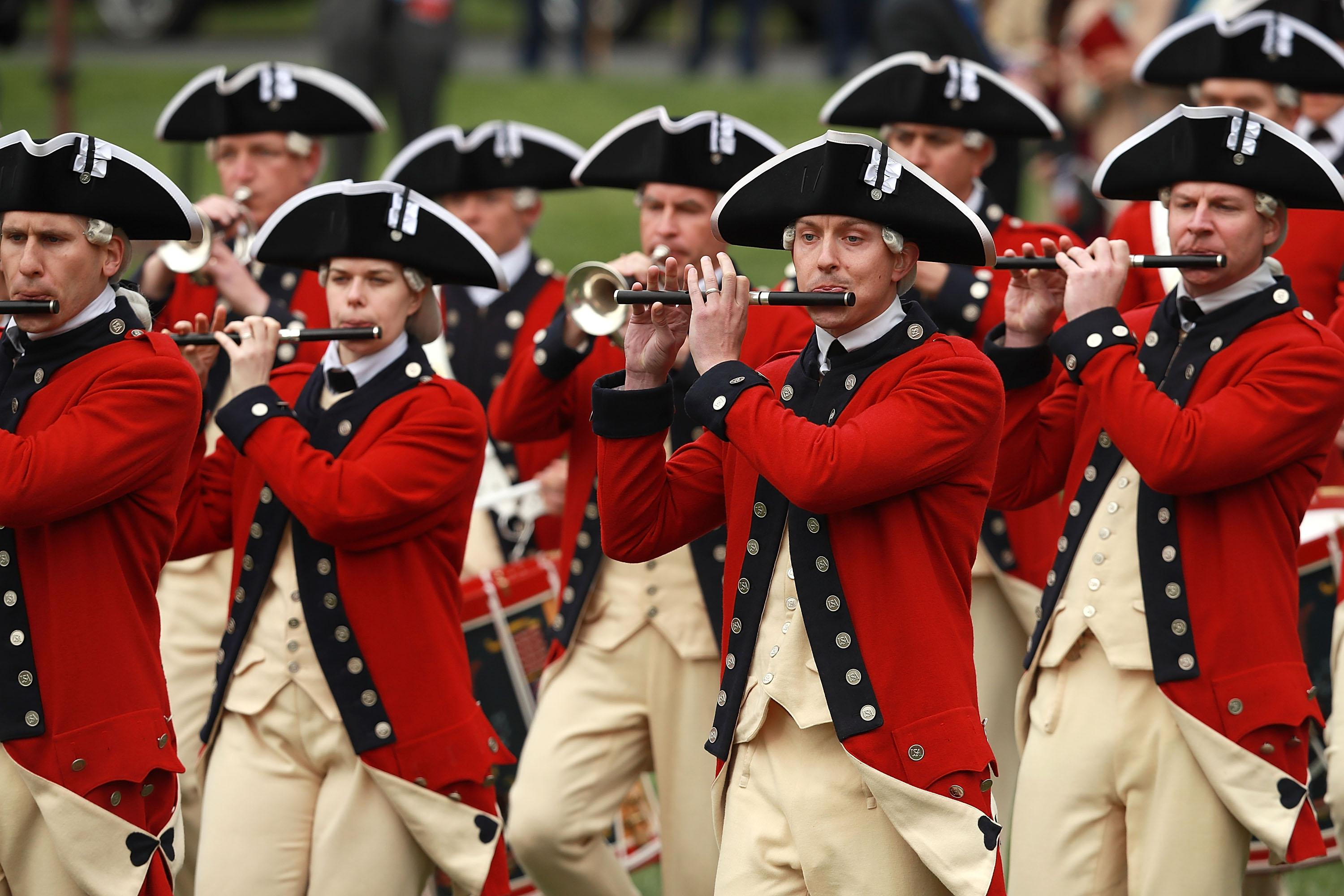 The United States Army Old Guard Fife and Drum Corps perform during the official arrival ceremony for French President Emmanuel Macron on the South Lawn of the White House April 24, 2018 in Washington, DC. Macron is in Washington for a three-day official visit that included dinner at George Washington's Mount Venon, a joint news conference with Trump and he will address a joint meeting of Congress Wednesday.