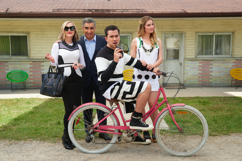 Schitt's Creek cast: Catherine O'Hara, Eugene Levy, Dan Levy, and Annie Murphy.