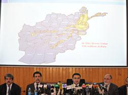 Afghanistan's Mining Minister Waheedullah Shahrani (C) addresses a press conference in Kabul. Shahrani said on June 17 that his country's mineral deposits could worth up to three trillion USD.