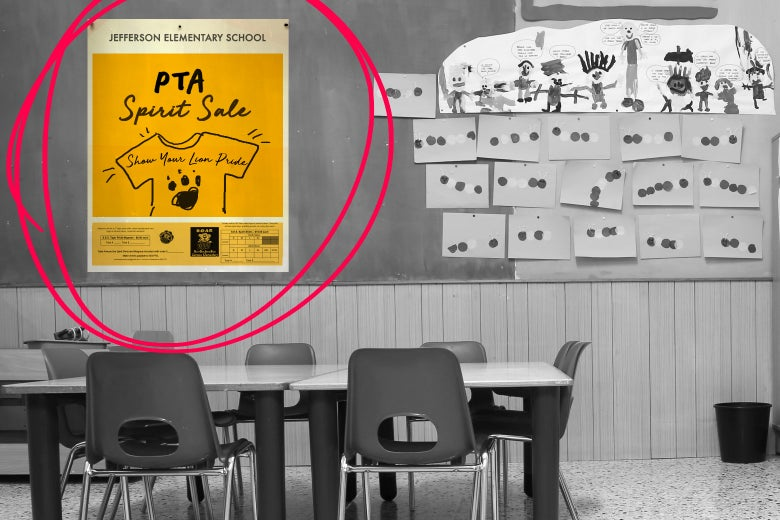 "A sign in a classroom that says ""PTA spirit sale."""