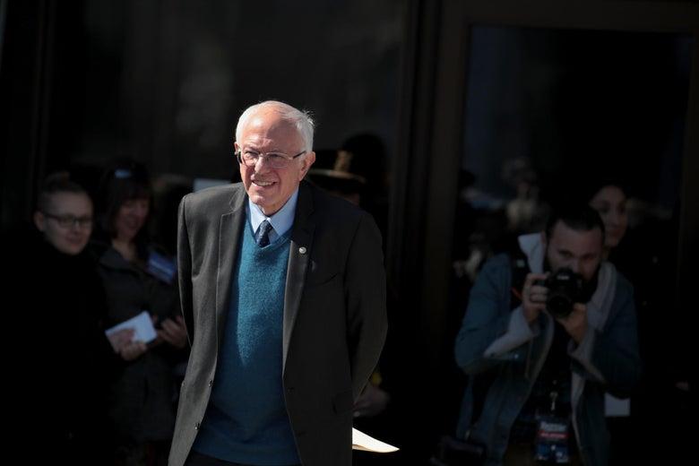 Sanders walks outside