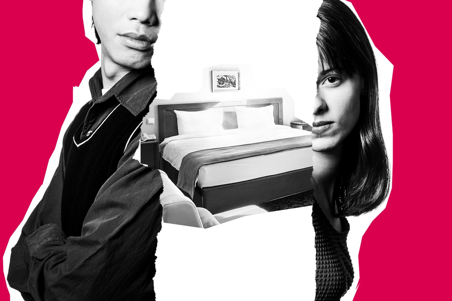 Adult siblings on either side of an image of a hotel bed.
