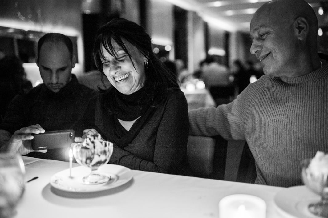 Thankful for every year together, Laurel Borowick, surrounded by her family, celebrates her 58th birthday at a restaurant in Manhattan. New York, New York. March, 2013.