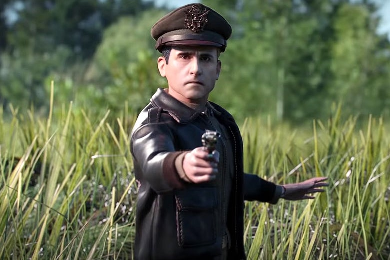 Steve Carell as a plastic action figure in Welcome to Marwen.