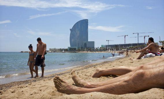 A beach in Barcelona.