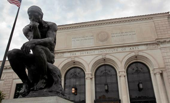 A statue of sculptor Auguste Rodin's 'The Thinker' is seen in front of the Detroit Institute of Arts museum