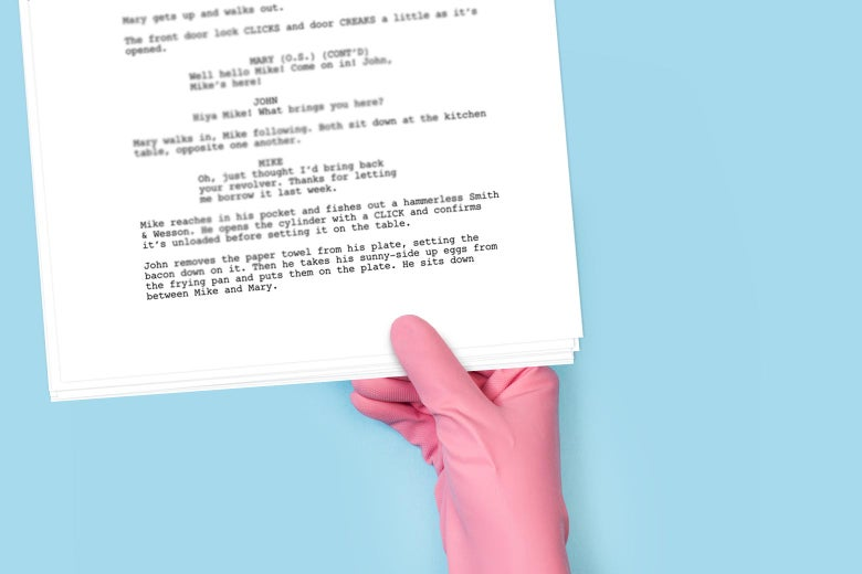 A hand wearing a pink medical glove holds a script.
