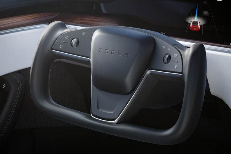 The Tesla steering yoke.