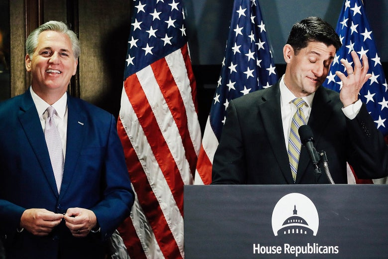 Kevin McCarthy stands beside Paul Ryan.