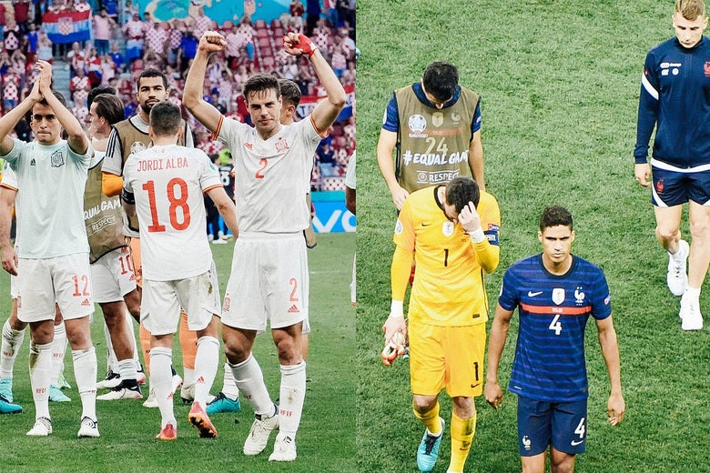 Left: Spain's players celebrate their victory with raised arms at the end of the UEFA EURO 2020 round of 16 football match against Croatia. Right: French players walk off the pitch dejected with their heads down after losing to Switzerland.