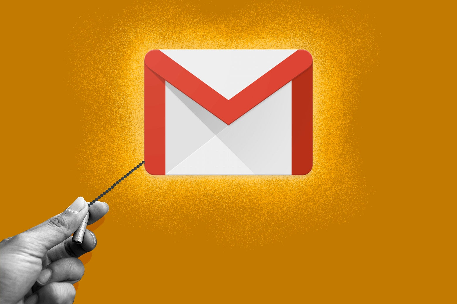 A hand pulls a lamp cord on a Gmail logo.
