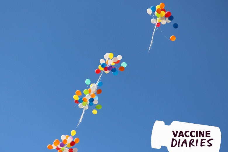 Bunches of balloons floating away.