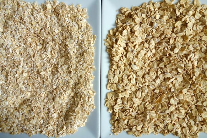 The oats on the left appear smaller and more blended together than the oats on the right.