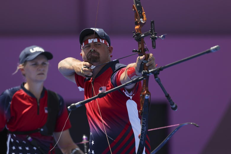 Brady Ellison of Team United States competes in the Mixed Team 1/8 Eliminations on day one of the Tokyo 2020 Olympic Games at Yumenoshima Park Archery Field on July 24, 2021 in Tokyo, Japan.